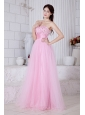 Baby Pink A-line Sweetheart Beading Prom / Evening Dress Floor-length Organza