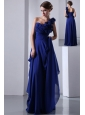 Royal Blue Empire One Shoulder Hand Made Flowers Prom Dress Floor-length Chiffon