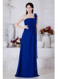 Royal Blue Empire One Shoulder Hand Made Flowers Prom / Evening Dress Brush Train Chiffon