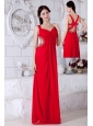 Sexy Red Prom / Evening Dress Backless Chiffon Beading