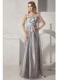Silver Column Straps Ruch and Beading Prom Dress Floor-length Satin