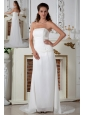 Sweet White Junior Prom Dress Appliques Column Strapless Court Train Chiffon