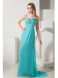 Turquoise Column Straps Prom Dress Brush Train Chiffon Beading
