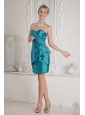 Teal Junior Evening Dress Column Sweetheart Sash Mini-length Taffeta,Simple sassy dress! This sensational sweetheart short evening dress has a glamorous celebrity style with beautiful pleats on the close-fitting bodice and the empire waistline. The short skirt accented with tiers of ruffles in irregular length is of charm and fascination. Zipper up closure finishes the dazzaling look. You will not miss it!