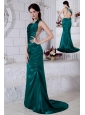 Teal Prom / Evening Dress Ruch Column Straps Brush Train Taffeta