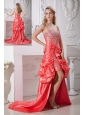 Watermelon Red Column Prom Dress Sweetheart Hand Made Flowers and Beading High-low Taffeta