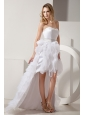 White A-line Sweetheart High-low Prom Dress Satin and Organza Ruffles