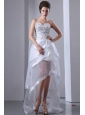 White A-line Sweetheart Prom Dress High-low Organza Beading
