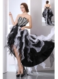 White and Black A-line Sweetheart Prom Dress High-low Organza Beading