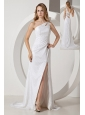White Column One Shoulder Prom Dress Brush Train Sequin