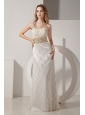 White Column One Shoulder Prom Dress Taffeta and Lace Beading Floor-length