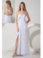 White Empire One Shoulder Beading Prom / Evening Dress Brush Train Chiffon