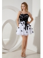 White and Black Junior Prom / Homecoming Dress A-line / Princess Straps Mini-length Organza Sashes