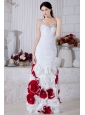 White Mermaid Sweetheart Beading and Hand Made Flowers Prom / Evening Dress Floor-length