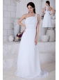 White One Shoulder Brush Train Chiffon Prom / Evening Dress With Appliques