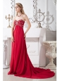 Wine Red Empire Sweetheart Beading Prom Dress Court Train Chiffon