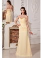Light Yellow Column / Sheath Sweetheart Ruch and Beading Prom Dress Floor-length Chiffon