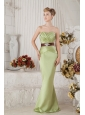 Yellow Green Junior Prom Dress Beading and Sash Column Sweetheart Floor-length Satin