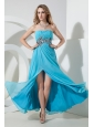 Aqua Empire Strapless Sequins Prom Dress Floor-length Chiffon