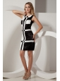 Black and White Column Prom / Homecoming Dress Square Mini-length Taffeta