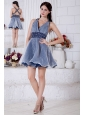 Blue and White A-line V-neck Short Prom / Homecoming Dress Organza Beading Mini-length