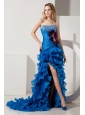 Royal Blue Column Sweetheart Beading Ruffles Prom Dress Court Train Organza