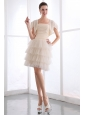 Champagne A-line Strapless Prom Dress Ruch and Ruffled Layers Mini-length Taffeta and Tulle