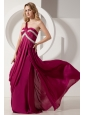 Fuchsia Column Prom / Evening Dress One Shoulder Brush Train Silk Like Satin Beading