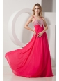 Coral Red Spaghetti Straps Beading Prom / Evening Dress Brush Train Chiffon