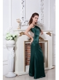 Hunter Green One Shoulder Prom Dress Floor-length Satin Ruch and Beading