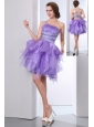 Lavevder A-line One Shoulder Short Prom Dress Organza Beading Mini-length