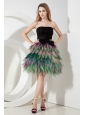 Multi-color A-line / Princess Prom Dress Strapless Mini-length Organza Bow