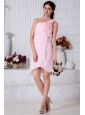 Pink Empire One Shoulder Short Prom / Homecoming Dress Chiffon Hand Made Flowers Mini-length