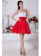 Red and White A-line Strapless Short Prom / Homecoming Dress Organza Beading Mini-length