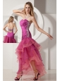 Sexy Fuchsia Sweetheart Prom Dress Asymmetrical Beading and Ruch