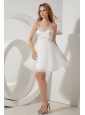 White A-line / Princess Straps Beading Short Prom / Homecoming Dress Mini-length Organza
