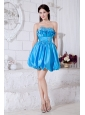 Blue A-line Sweetheart Short Prom Dress Taffeta Beading Mini-length