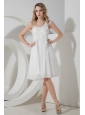 White Empire One Shoulder Prom Dress Knee-length Chiffon