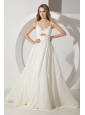 White Empire Straps Prom Dress Brush Train Chiffon