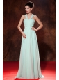 Beautiful Apple Green Prom Dress Straps  Chiffon Ruch Empire Floor-length