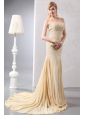 Beautiful Gold Mermaid Prom Dress Sweetheart Court Train Chiffon Beading and Sequins