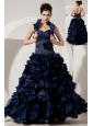Beautiful Navy Blue A-line / Princess Prom Dress Sweetheart Beading Floor-length Organza