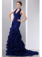 Beautiful Navy Blue Mermaid Halter Prom Dress Court Train Chiffon Ruch and Ruffles