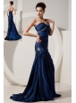 Beautiful Navy Blue Mermaid Prom Dress Sweetheart Brush Train Taffeta Beading