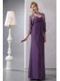 Beautiful Purple Column Sweetheart Ruch Mother Of The Bride Dress Ankle-length Chiffon