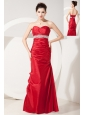 Beautiful Red Mermaid Sweetheart Prom Dress Satin Beading and Ruch Floor-length
