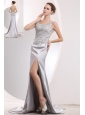 Beautiful Silver A-line Scoop Prom / Evening Dress Brush Train Satin Beading