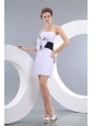 Beautiful White Column Strapless Prom / Homecoming Dress Taffeta Bowknot Mini-length