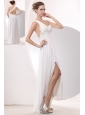 Beautiful White Empire One Shoulder Prom / Evening Dress High-low Chiffon Appliques