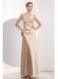 Beauty Champagne Empire Straps Homecoming Dress Satin Ruch  Floor-length